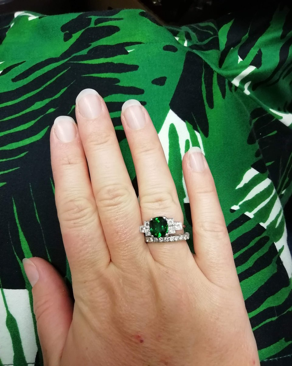 It's a jungle out there!  Don't be green with envy, if you love this tsavorite garnet and diamond ring, it could you be yours!   All you have to do is bid for it in our Fine Jewellery Auction on October 25th @HansonsUK  #tsavorite #garnet #diamond #ring #jewellery #gemmologypic.twitter.com/QMjakzPI3k