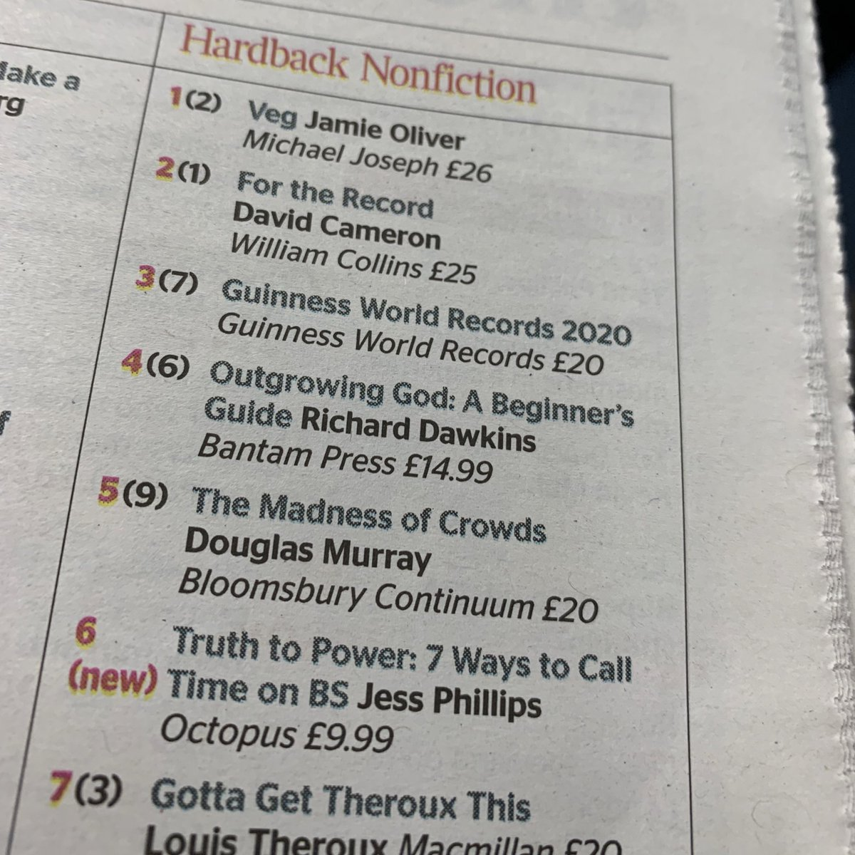 Great to see THE MADNESS OF CROWDS by @DouglasKMurray moving up into the top 5 on @thetimes bestseller list... @BloomsburyBooks