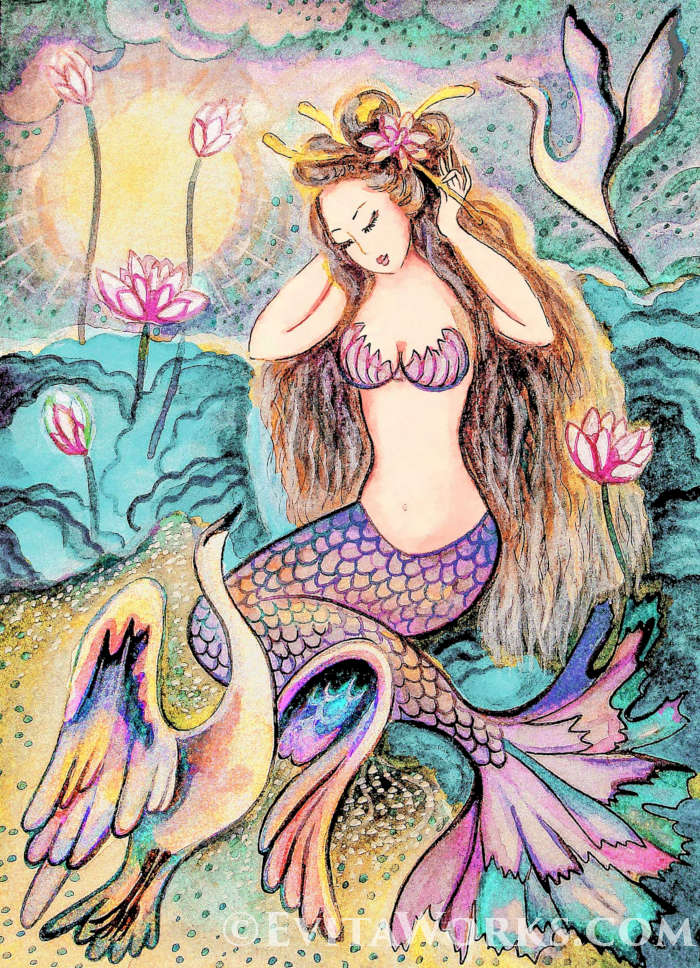 ~ Mermaid Sunrise ~ Varied hand-made crafts with this motif available here:  https://evitaworks.com/artwork/oa-mermaid-03 … -- #AsianCollectionI #Mermaids #giftideas #beautifulwoman #womanpainting #womanbirthdaygift #femininebeauty pic.twitter.com/wJhV8nqKCI