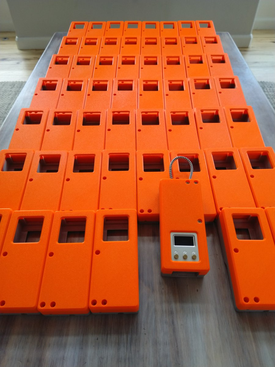 Hilarious that I printed ~70 @WLANPi cases on 2x Original Prusa i3 MK3S from Prague, with Prusament from Prague, only to immediately haul them to Prague from the US for #WLPC. Cc: @josefprusa