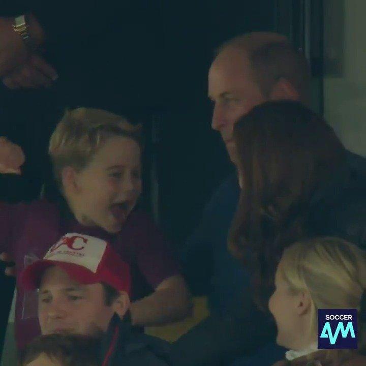 Prince George celebrating @ConorHourihane's goal 💜 #avfc