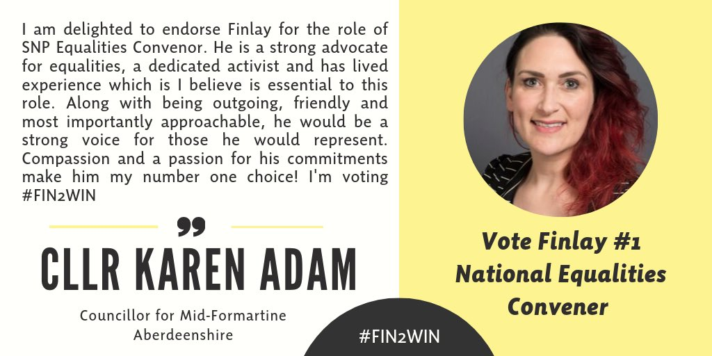 📣 Thanks and love to gorgeous @cllr_karenadam for endorsing me for National Equalities Convener. Being approachable is the key to building lasting relationships. Let me build those bridges as SNP National Equalities Convener by voting #Fin2Win in October 🏳️🌈