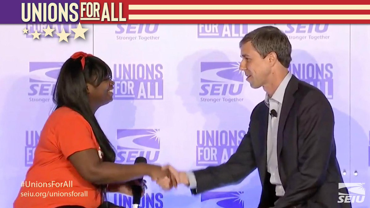 Jamelia Fairley has worked at @McDonalds for 4 years. She asked how @BetoORourke would rewrite the rules to make sure that all working people have the opportunity to join unions across industries and regions to improve working conditions. #UnionsForAll @FightFor15