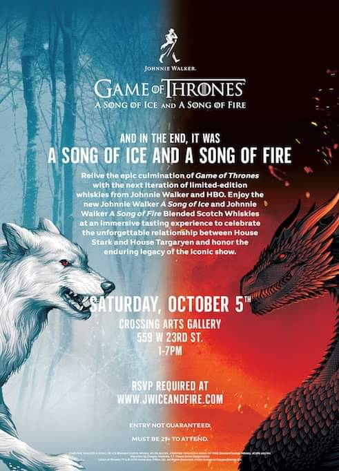 If you have time today check out the @GameOfThrones @JohnnieWalkerUS A Song of Fire and A Song of Ice Whiskey   Crossing Arts Gallery 559 W 23rd St.   1-7 PM  #JWSongofIce #jwsongoffire #NYCC2019 #NYCC #gameofthrones<br>http://pic.twitter.com/w7oc8rBdlL