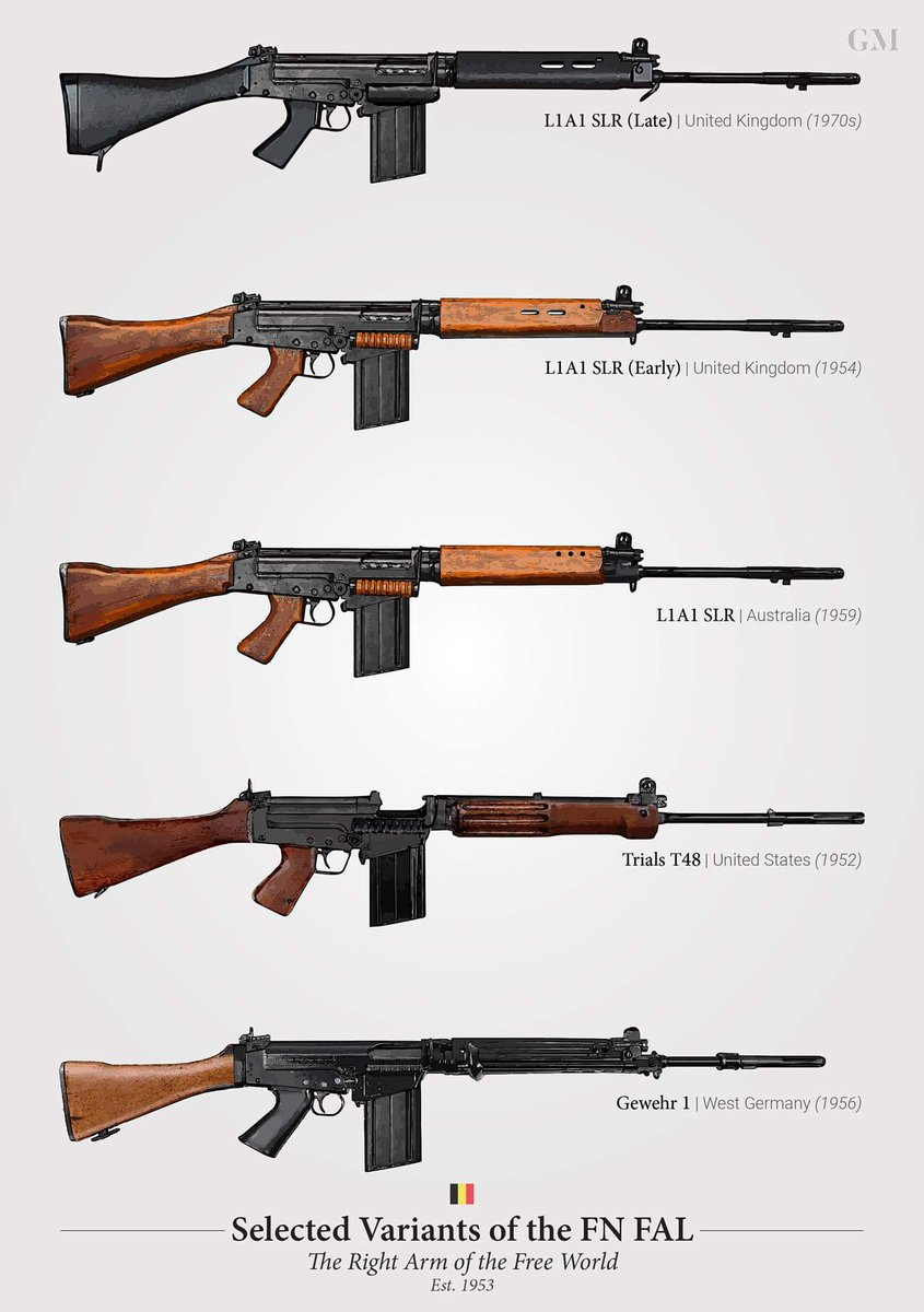 Trufault On Twitter A Few Variants Of The Fn Fal Battle 1 L1a1 Slr Late From The United Kingdom Introduced In The 1970s 2 L1a1 Slr Early From The United Kingdom Introduced
