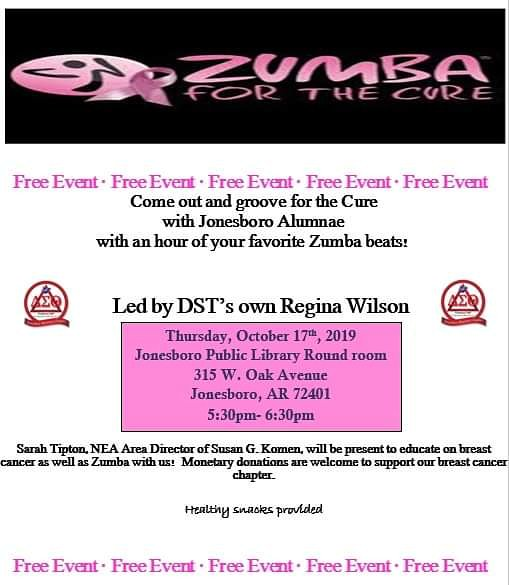 Join the ladies of the Jonesboro Alumnae Chapter as we Zumba for the cure.There will be a representative present to answer any questions and give important facts about breast cancer. Snacks will be provided. #ServiceInOurHeart #PhysicalandMentalHealth #DST1913<br>http://pic.twitter.com/lGq3RPE5Am