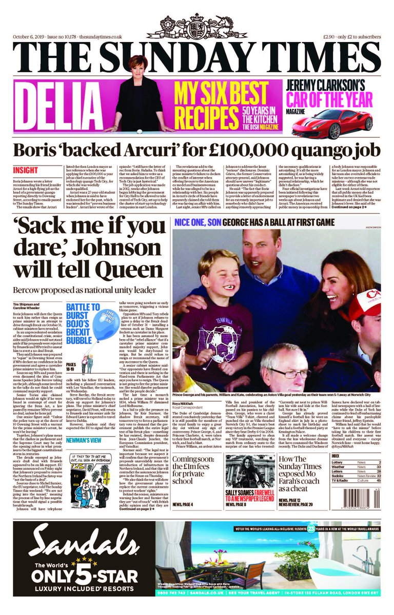 Unless the police turn up at No 10 with a warrant, Boris wont be leaving, a senior figure boasts in The Sunday Times tomorrow