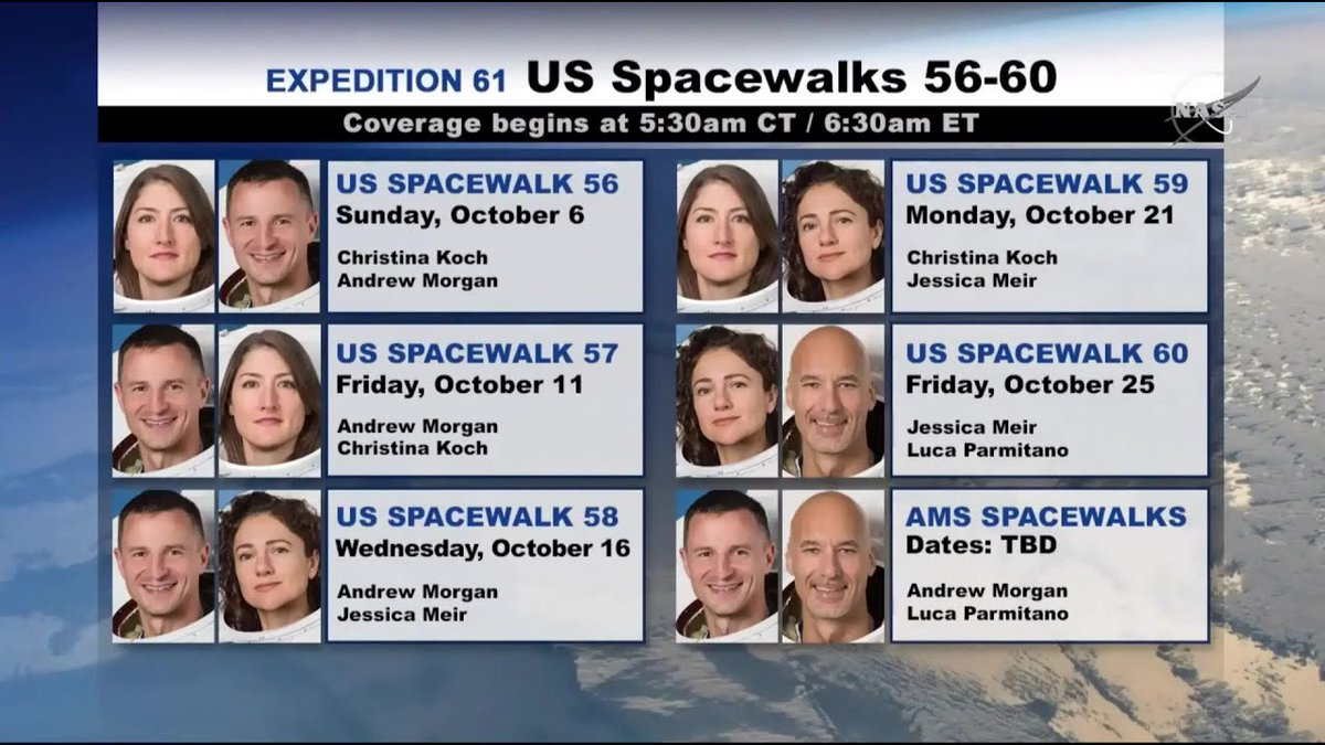 Welcome...to #spaceWalktober. And nothing is cooler to watch on a lazy Sunday than the first of a gazillion @Space_Station spacewalks. Nasa.gov/ntv