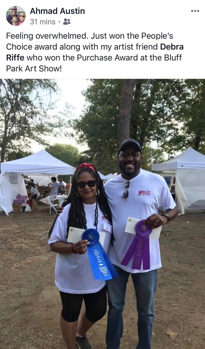 """I want to brag on one of our colleagues! Super great guy and an amazing artist! Mr. Ahmad Austin won the 2019 Bluff Park Art Shows """"People's Choice Award"""" #hooverpride #bluffparkart #musicmen #localfavorite"""