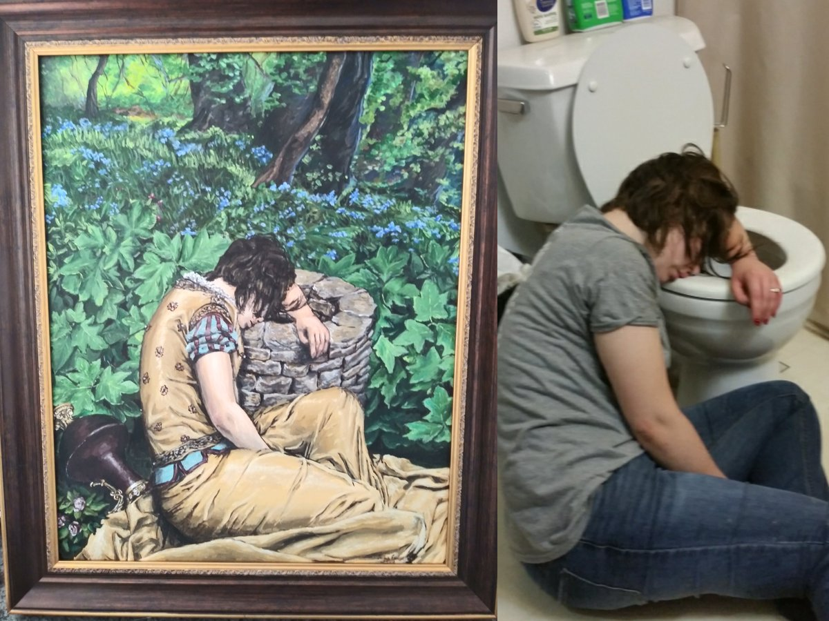 A year ago I got black-out drunk at a charity bar crawl. My best friend commissioned a painting of his favorite photo of me from that night. reddit.com/r/pics/comment…