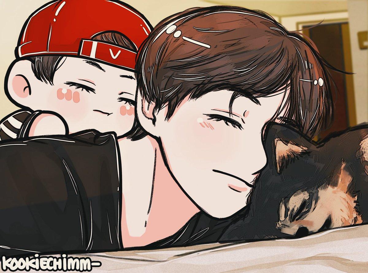 Sleepy babies!🐻🐯🐶🥺💜 #Taetae #V hyung #Yeontan