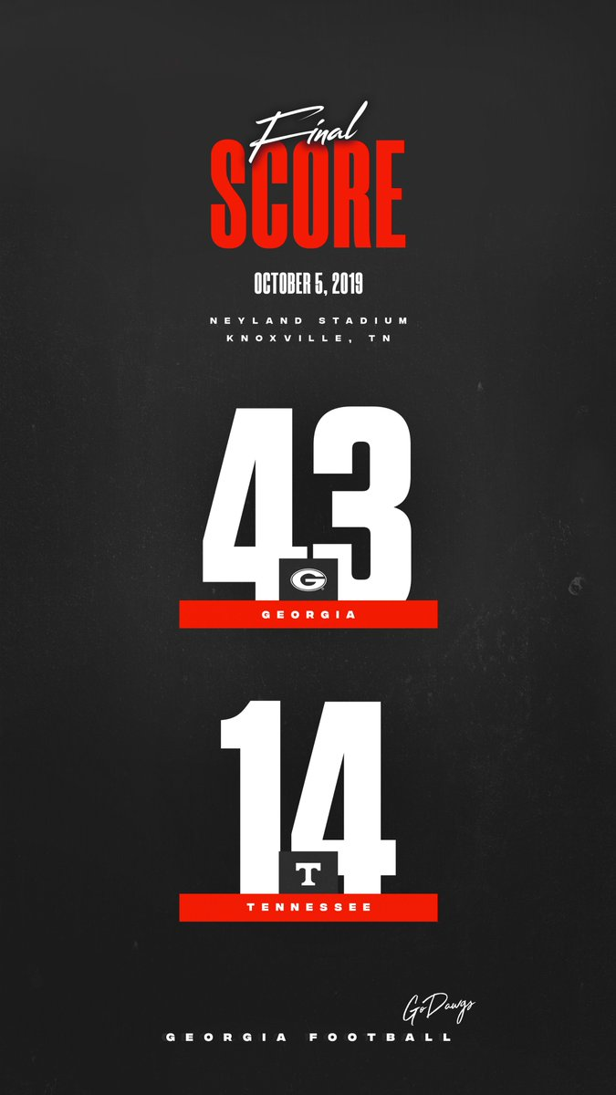 FINAL Georgia 43 // Tennessee 14 #UGAvsUT #GoDawgs