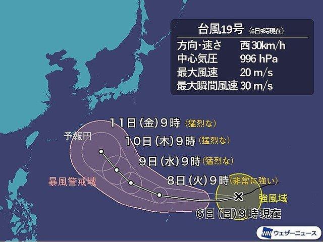 【三連休に影響か】台風19号、今年最強の台風へ発達予想9日9時の中心気圧は915hPaとなる予想で、もしこの規模になれば今年発生した台風の中では最も強い勢力といえます。