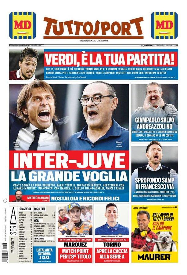 Front Pages La Gazzetta Dello Sport Corriere Dello Sport And Tutto Sport Sunday 6 October 2019 Italian Soccer Serie A News Serie A Tickets Results Standings