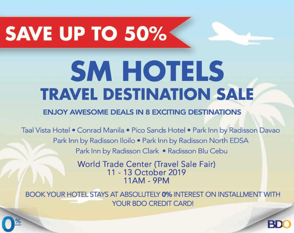 Enjoy awesome deals on rooms, dining and spa at the SM Hotels Travel Destination Sale this October 11 to 13 at the World Trade Center!  #ConradManila #StayInspired https://t.co/QwiICkKGYV