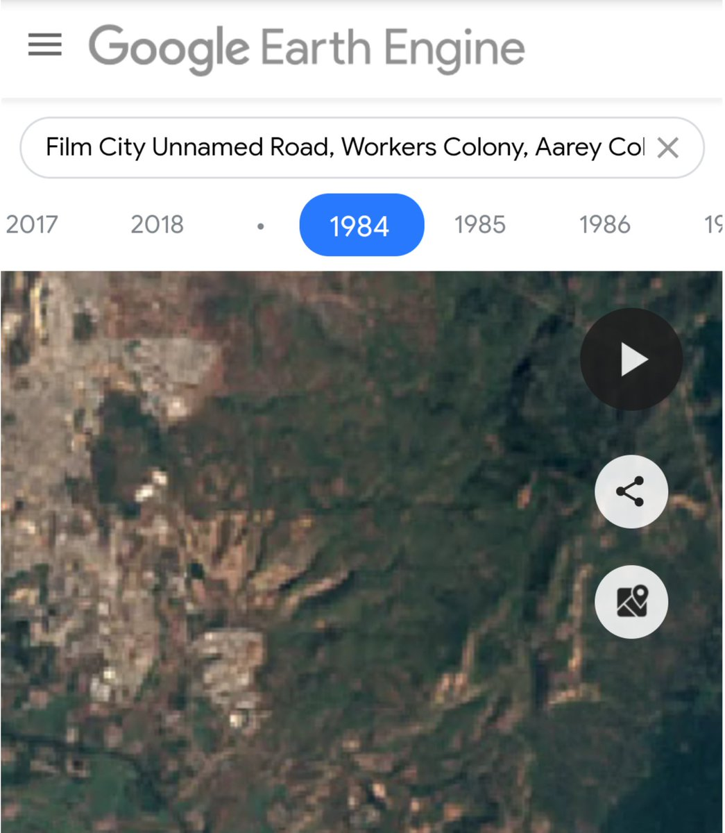 Google earth images of Film City, Aarey colony (1984 vs 2018). Forest spread over 520 acres was razed for it. Aarey metro shed area is only 79 acres, half of it is treeless.  Make ur own opinion on social issues. Never let an opportunist bollywoodiya influence u on anything.