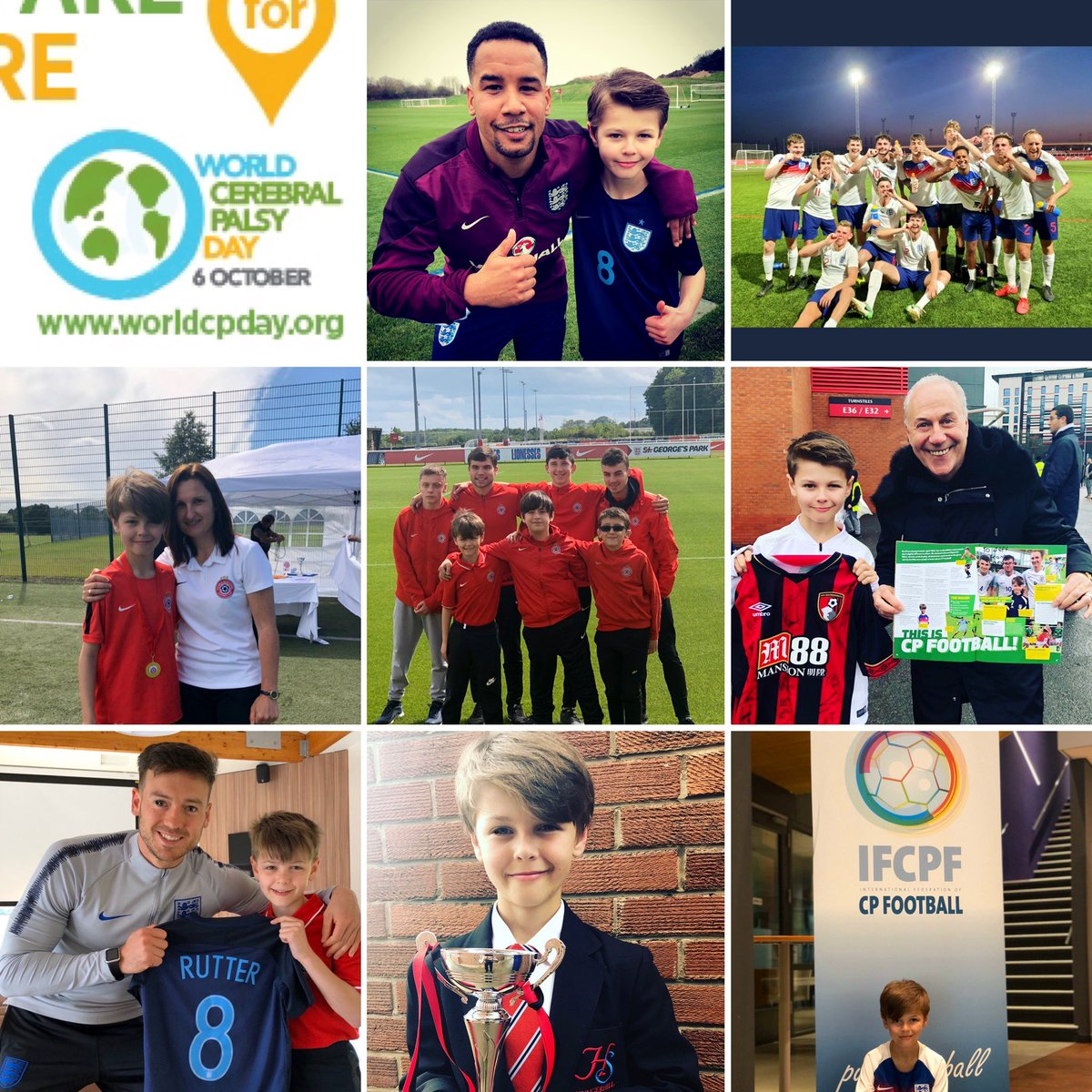 Today is @WorldCPDay #worldcpday so I decided to thank the people who inspired my CP Story. Who inspired your CP Story ? #mycoaches @michellewilcock #myteammates @CP_United_FC @jackrutter2 #myclassmates @MartinSinclair1 @England CP @jeffmostyn @ifcpf #bethebestyoucanbe 👊