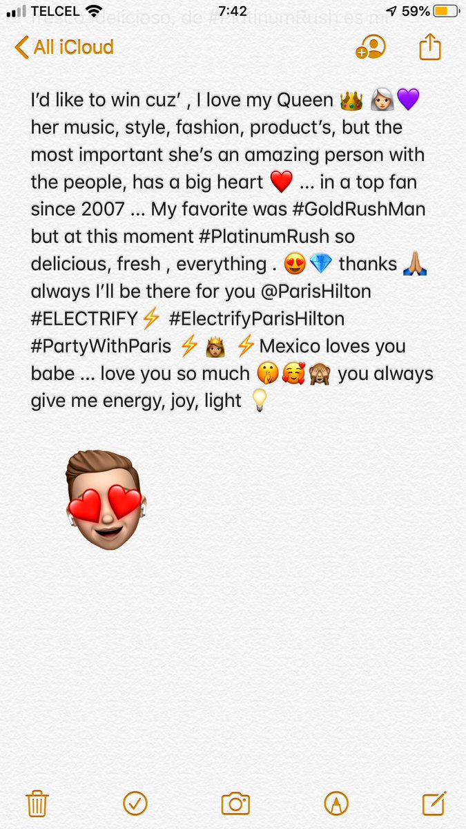 @ParisHilton I'd like to win cuz', love my Queen 👑 👩🏻‍🦳💜 she's an amazing person with the people, has a big heart ❤️ im a biggest fan from 2007...My favorite  #PlatinumRush is everything 😍💎 🙏🏼 always I'll be there for you @ParisHilton #ELECTRIFY⚡️ #ElectrifyParisHilton #PartyWithParis 👸🏼
