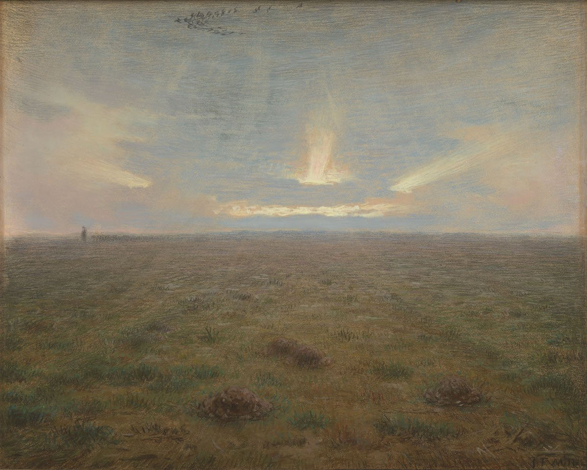 Do you think this style of painting is traditional or modern? Millet's style was not traditional. More than that: it was highly modern for his time. The high horizon means that the landscape covers half of the canvas. That was ultra-modern then! vangogh.nl/WFw050wAtVJ