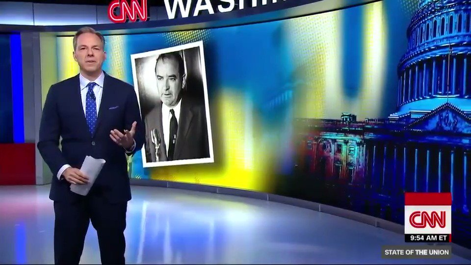 .@jaketapper takes a look at how Republican lawmakers will be judged for how they handle Pres. Trump. He says they should remember lessons learned from how Joseph McCarthy's contemporaries handled him. #CNNSOTU