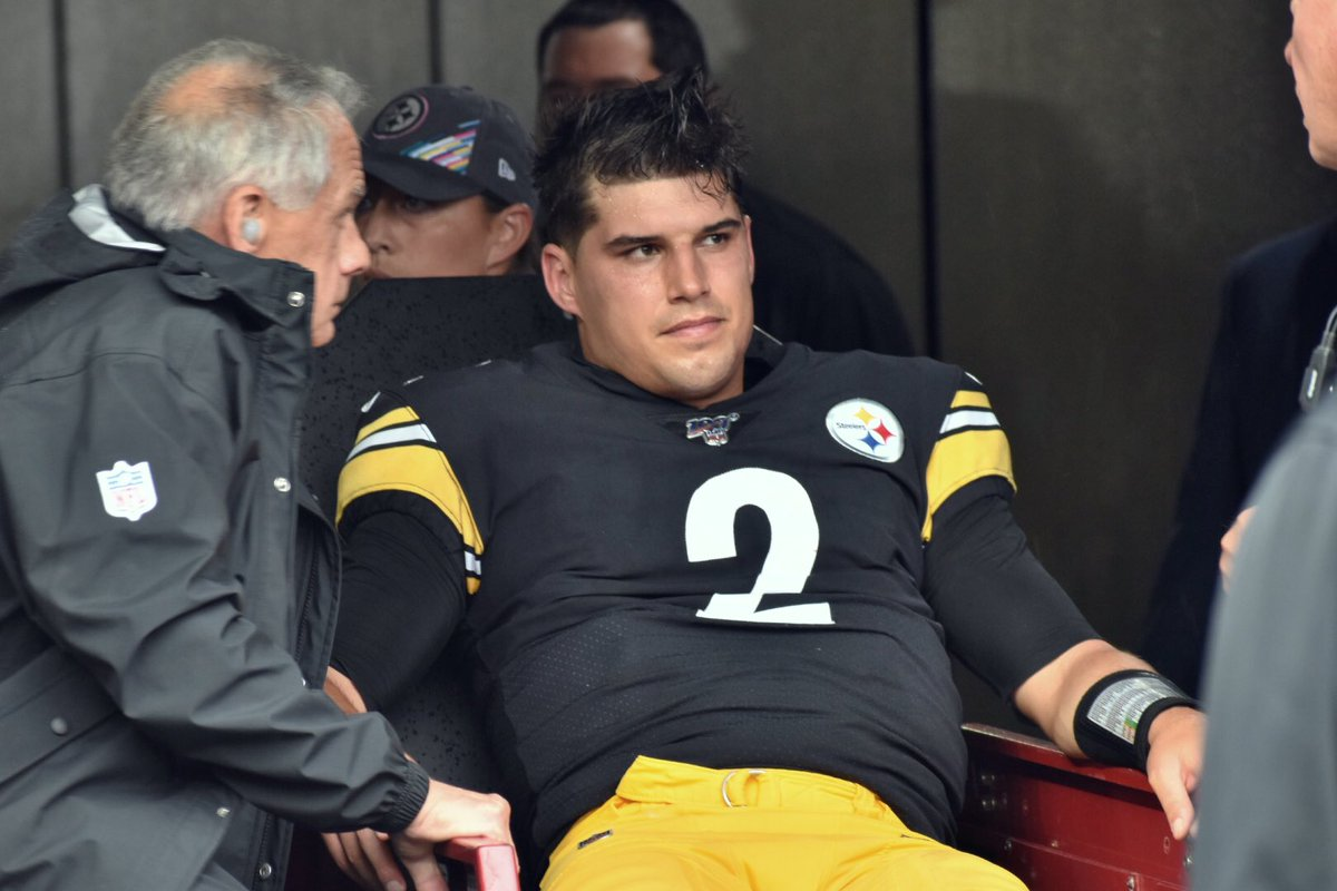 Ian Smith On Twitter Steelers Qb Mason Rudolph Helped Off The Field After A Brutal And Illegal Hit By Ravens Earl Thomas Kdka