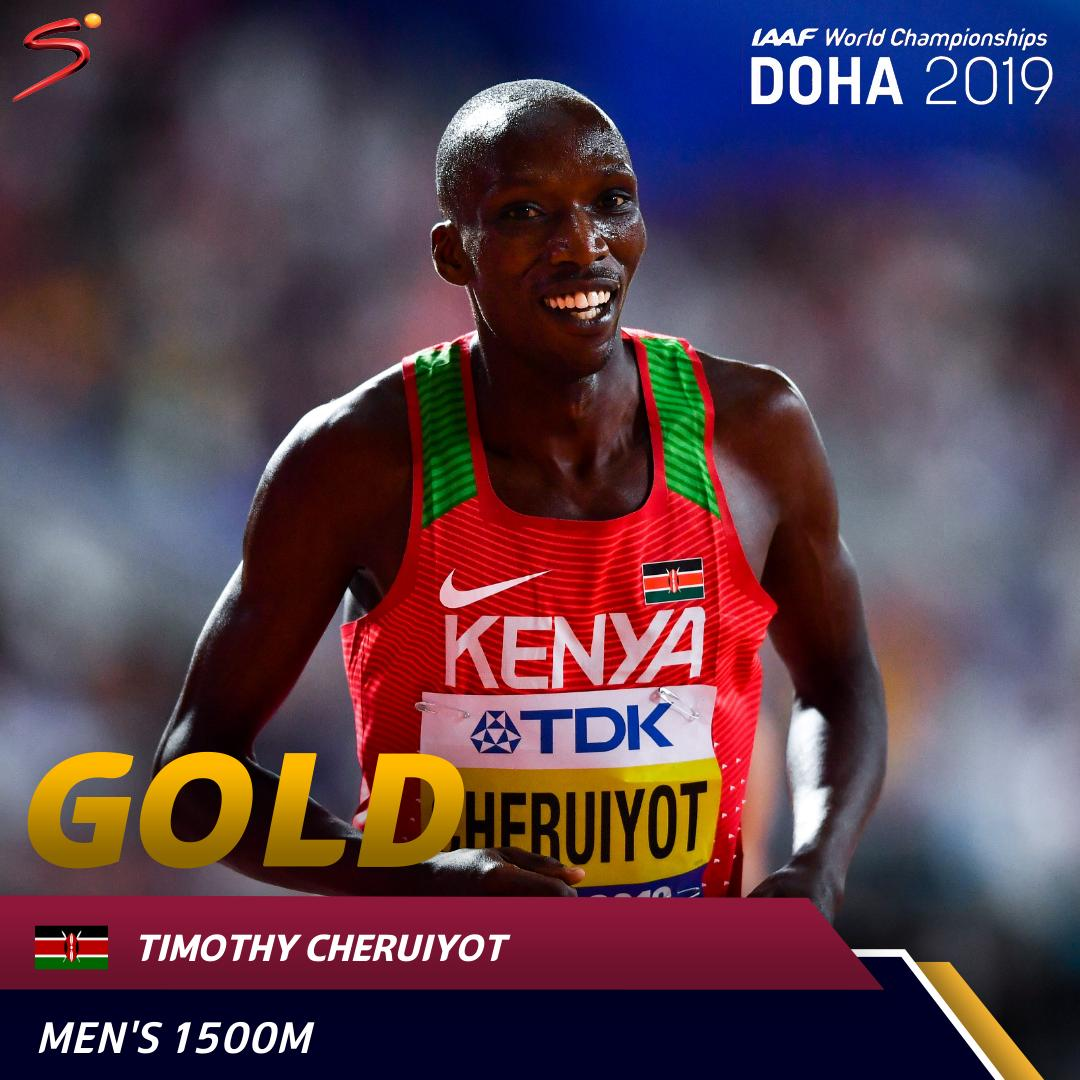 Another gold for Kenya 🥇🇰🇪 Timothy Cheruiyot claimed the gold medal in the mens 1500m event ahead of Algerias Taoufik Makhloufi and Polands Marcin Lewandowski. #WorldAthleticsChamps