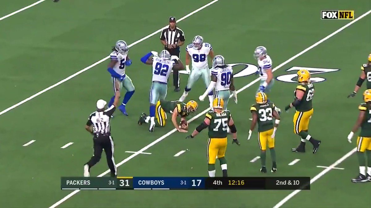 .@Dorance_Alegend with the SACK on Aaron Rodgers. #GBvsDAL | #DallasCowboys