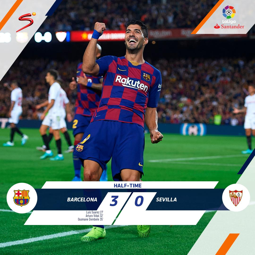 Barcelona are running riot at the Nou Camp against Sevilla with a 3-0 lead at the break. A win would see Barça move up into 2nd spot on the log, behind Real Madrid. Watch LIVE > bit.ly/SS_NOW.