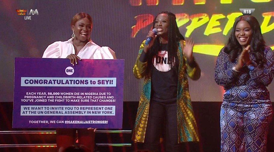 #BREAKING #seyiawolowo WON the @ONEinAfrica health challenge and will represent us well. Congrats @seyiawolowo   #BBNaijaPepperDem #BBNaijaUpdates #BBNaijaparty #BigBrotherNaija #BBNaija2019 #BBNaijaEviction #bigbrothernaija2019<br>http://pic.twitter.com/6cLCLXzHqC