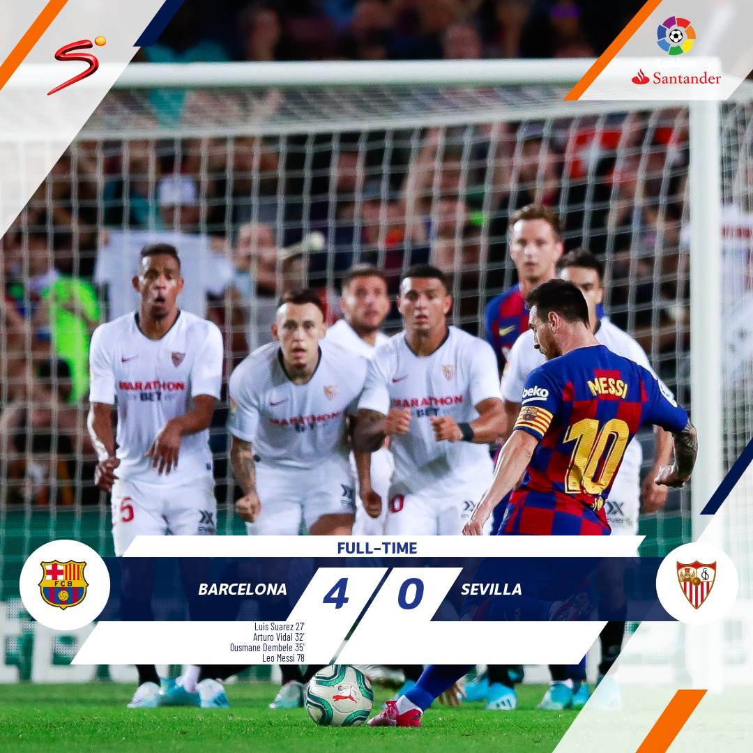 Leo Messis free-kick rounded off a perfect night for Barcelona as they beat Sevilla 4-0 at the Nou Camp to move into 2nd spot on the #LaLiga standings.