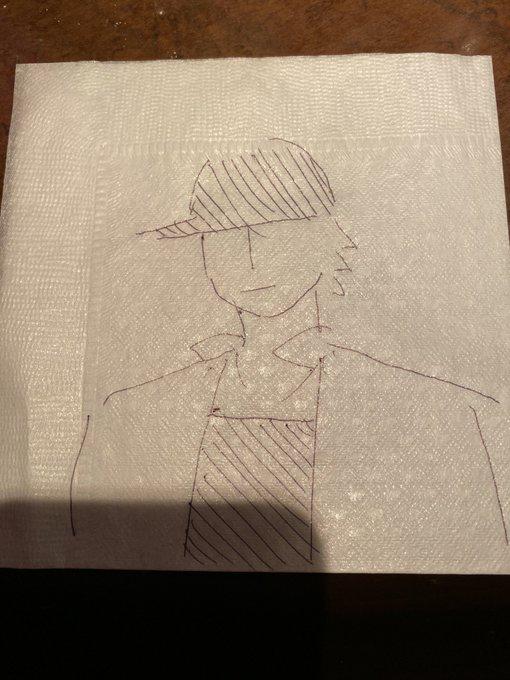 米津玄師さんと、RADWIMPS野田洋次郎さんが飲食店の紙ナフキンで