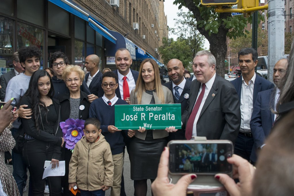 Council Member @Dromm25 hosts street co-naming of 79th Street between 37th Avenue and 35th Avenue as State Senator José R Peralta Way.