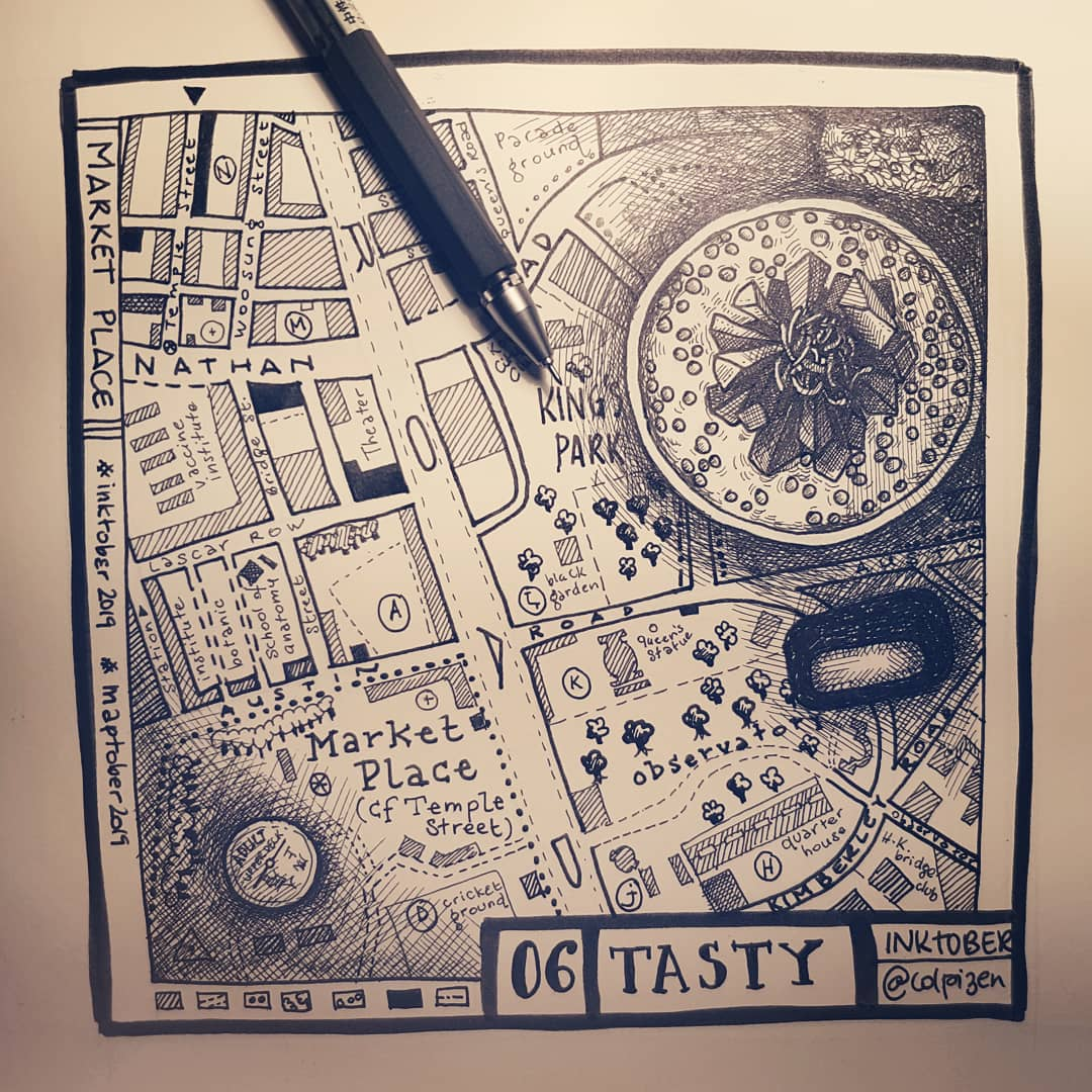 "[Ink-Map-tober2019] #06  Tasty + Market place  [Bande son en dessinant] ""Fossile sonore"" https://www.franceculture.fr/emissions/lexperience/fossile-sonore …  Guest star : chat de Lascar Row  #inktober2019 #maptober2019 #tasty #marketplace #hongkong #hongkongfoodie #cartography #map #rotring #mujipens #uniball #blackinkpic.twitter.com/2788cLyPsL"
