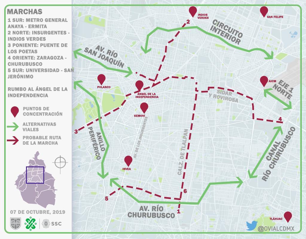 Este lunes considere afectaciones por manifestación masiva de taxistas en distintos puntos de la CDMX. Consulte Aquí #AlternativaVial