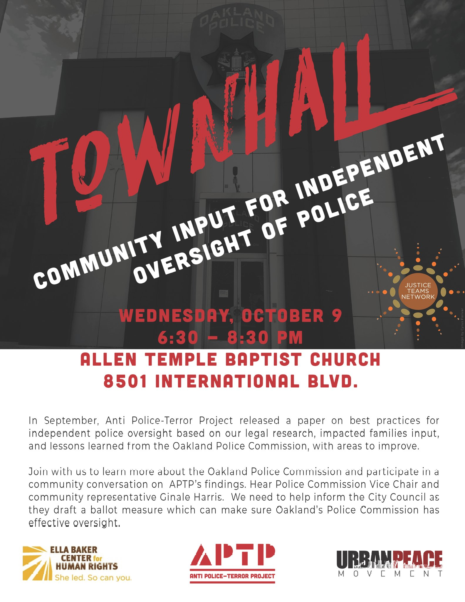 Townhall for Independent Oversight of Police @ EastSide Arts Alliance