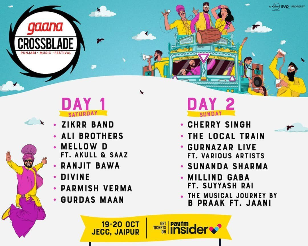 So, are you all set to get a taste of the world's biggest Punjabi music festival? #Gaana #Crossblade Music Festival is back with a bang!   Book your tickets now: https://bit.ly/2DXvp1d  #MusicFestival #Bang #PunjabiMusic #PunjabiMusicFestival #MilindGaba #TheLocalTrain #musicpic.twitter.com/G5njcEbtfJ