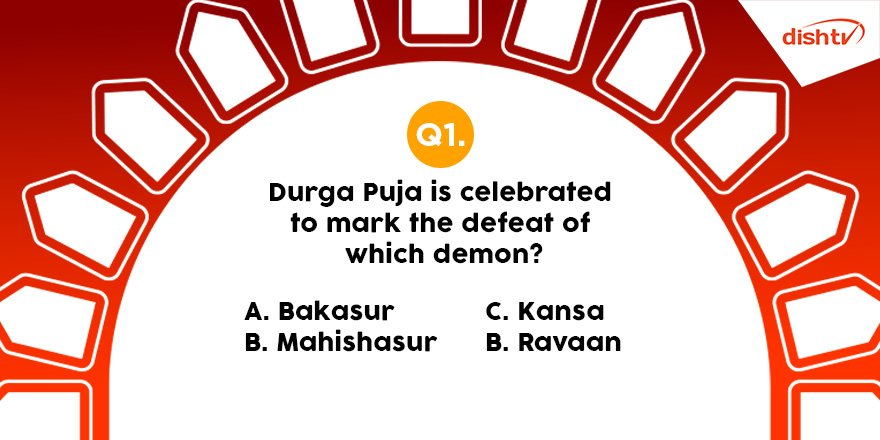 Q1: Durga Puja is celebrated to mark the defeat of which demon? Answer using the hashtag #PujoWithDishTV to win big, and tune in to DishTV #BhaktiActive service for more stories and shows related to Durga Puja.  #Mahanavami #ContestAlert #Contest #ContestIndia <br>http://pic.twitter.com/wo9UWR3uWN