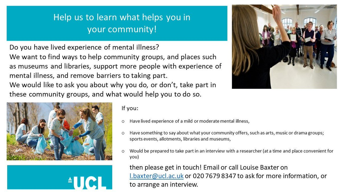 Our friends @NetworkMARCH are looking for people in the UK with lived experience of mental illness who would be willing to share their experiences for a project to help community groups. Please follow up with Louise (see image) if you can help 🙏 #mentalhealth