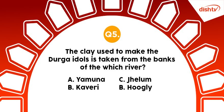 Q5: Our next and last question is related to clay used in Goddess Durga's idols. Are you ready to answer it? Don't forget to use the hashtag #PujoWithDishTV, and watch unlimited devotional content on DishTV #BhaktiActive service.  #Mahanavami #ContestAlert #Contest #ContestIndia <br>http://pic.twitter.com/Z2voGJMb5Q