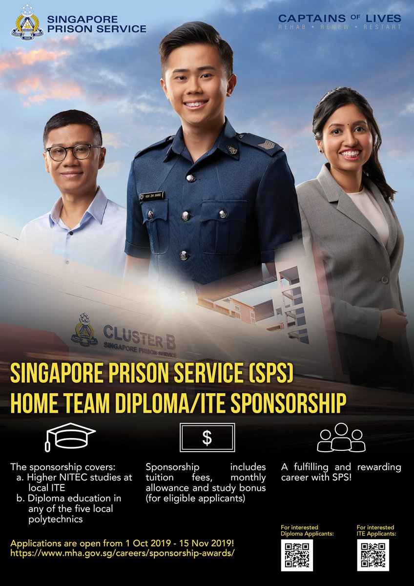The Singapore Prison Service (SPS) Home Team Diploma/ITE Sponsorship is back!   Applications are open from 1 Oct 2019 to 15 Nov 2019!  Click here for more info: https://t.co/vBmqMUPxlZ https://t.co/T63CMZ3i02