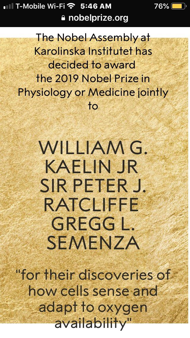 #Premio 🥇 #Nobel de Fisiología y #Medicina 2019: William Kaelin Jr. Sir Peter J. Ratcliffe y  Gregg L. Semenza  Por su descubrimiento de como las células detectan y se adaptan a la disponibilidad del oxígeno  ÁGORA es un #Nicolaita #Purépecha #Lindauforlife (#LindauParaSiempre)