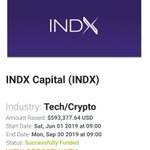 Image for the Tweet beginning: @INDX_CAPITAL successfully funded.  Congratulations