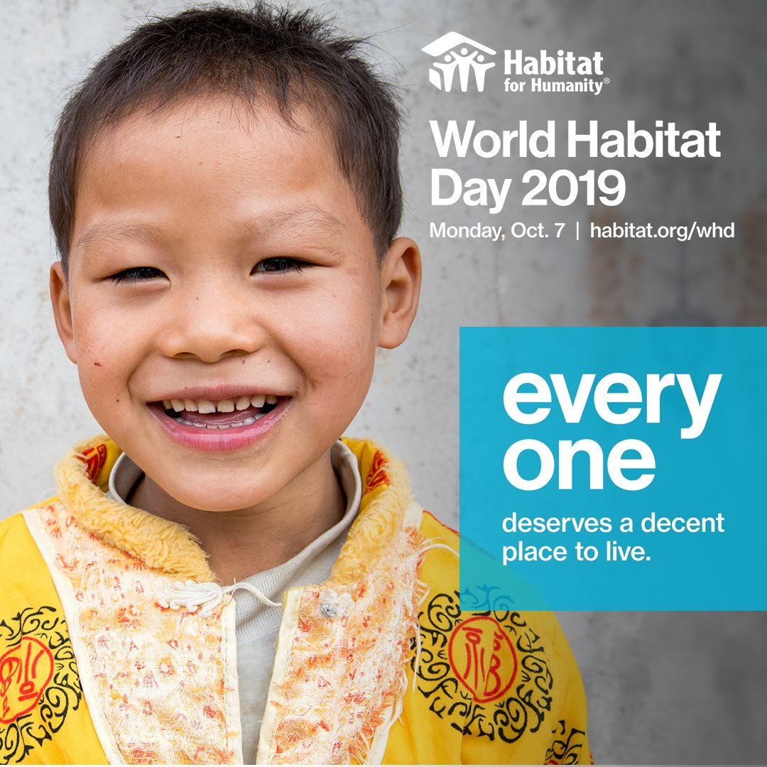 On #WorldHabitatDay, Habitat for Humanity joins the United Nations and organizations around the world in raising awareness, educating and mobilizing individuals and communities to take action on the current global housing challenge. #UseYourVoice here: bit.ly/30WkSLY