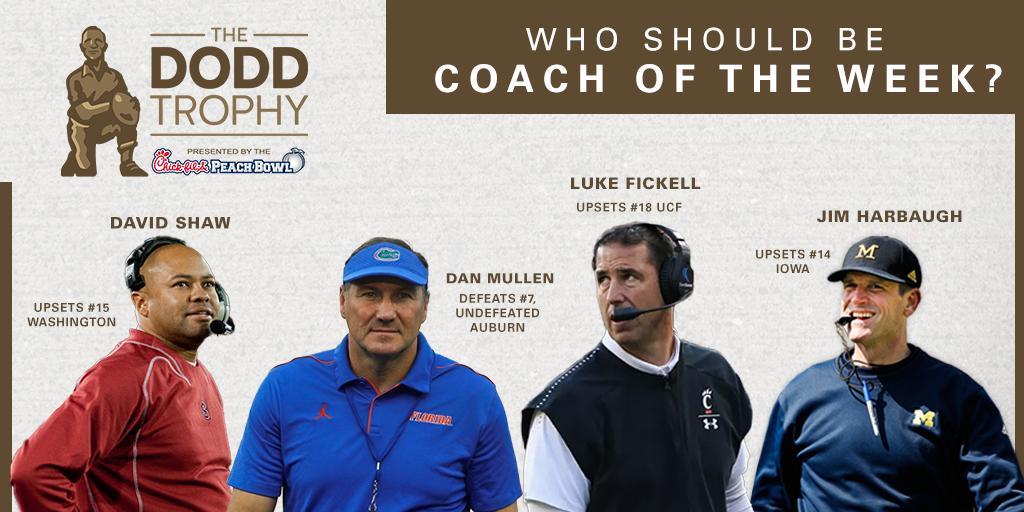 📲 FAN VOTE! Who should we pick as our #DoddTrophy Coach of the Week? A. @CoachDavidShaw (@StanfordFBall) B. @CoachDanMullen (@GatorsFB) C. @CoachFick (@GoBearcatsFB) D. @CoachJim4UM (@UMichFootball) Reply with your vote ⤵️