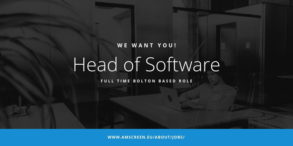 .@Amscreen is recruiting for a Head of Software at their #Bolton head office. Candidate to be proficient at a coding level and also a capable manager to direct and support the software team. Full job description: amscreen.eu/about/jobs/ #DOOH #recruitment