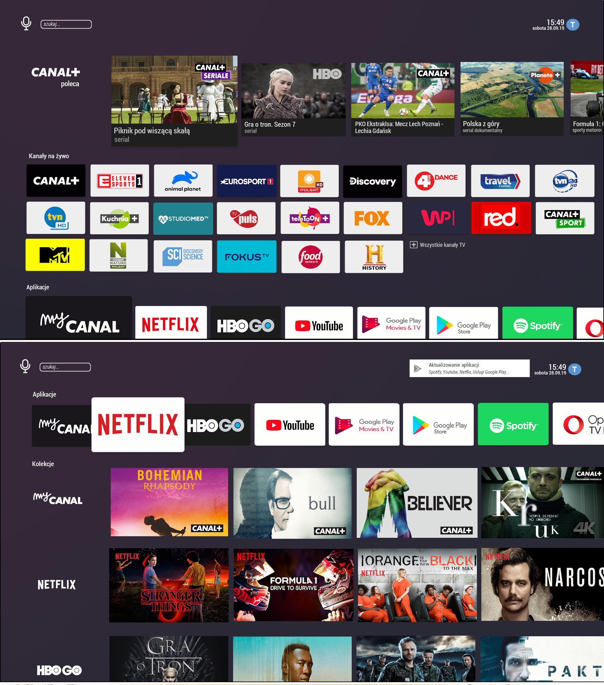 Screenshots de la nouvelle interface Android TV développée pour un prochain décodeur Canal+.