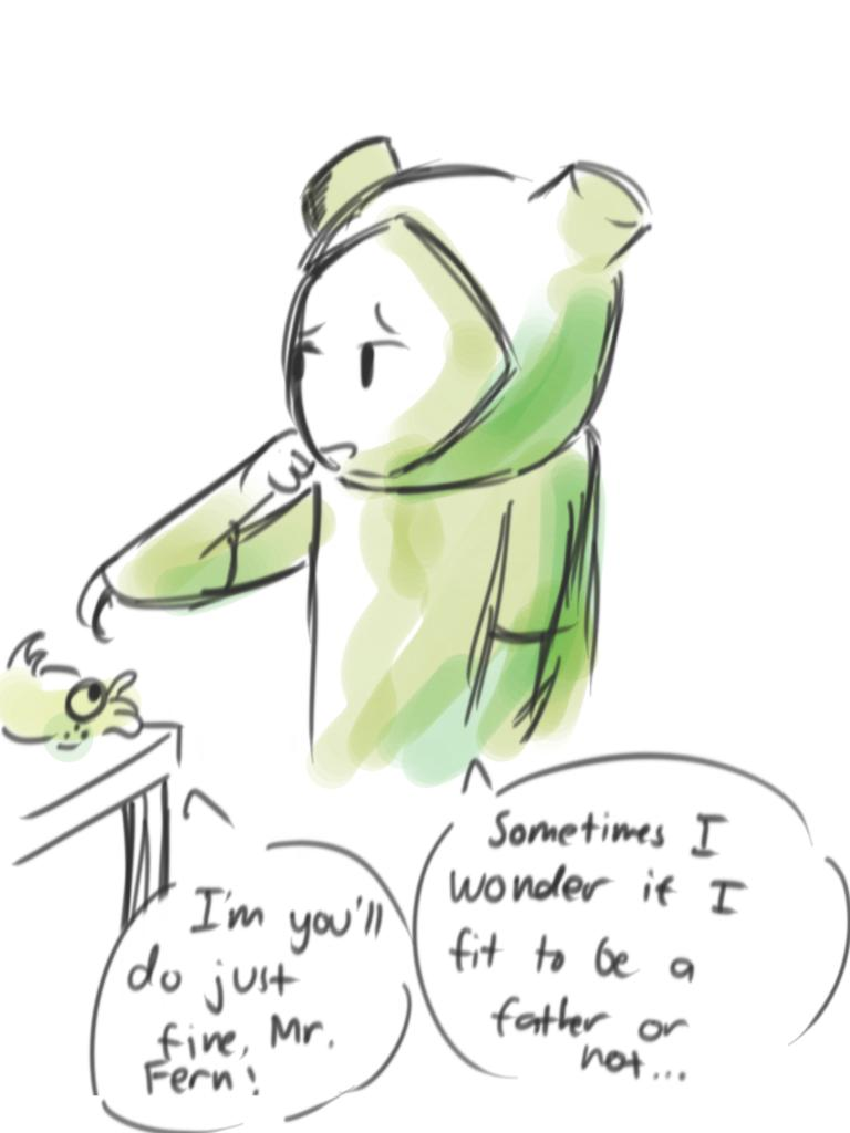 Doodle before bed  Fern thinking about if he can do it, being Flax's father Lichen being supportive. #fernthehuman