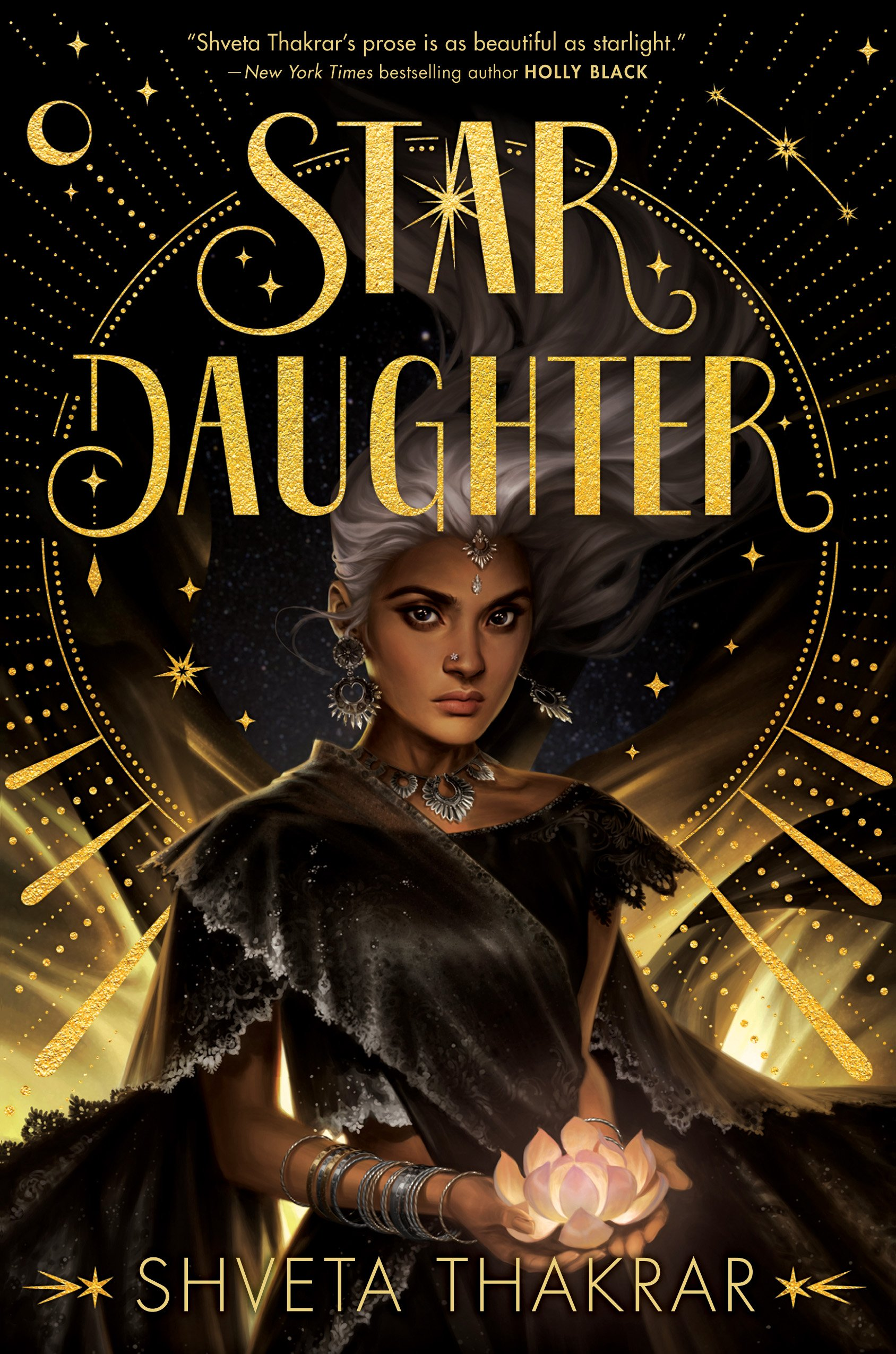 My beautiful gold-and-black cover for STAR DAUGHTER with a lovely brown girl holding a moonlight lotus.