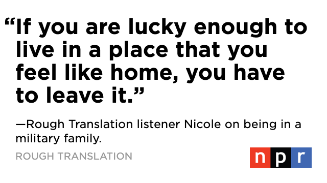 Did you miss our season finale? We tell a listener's story from a mom on a military base about the time her son found a country where he felt like he belonged.https://apple.co/2MfeKcm