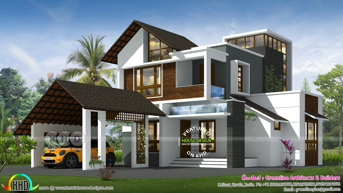 Kerala Home On Twitter Contemporary Mixed Roof Home Design Https T Co I45xdlrffd